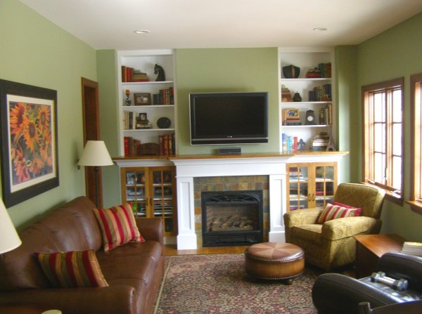 Custom Built-In Bookcases and Fireplace Surround